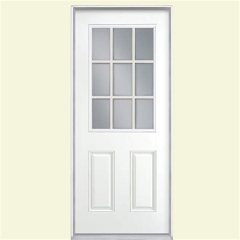 Prehung Fiberglass Exterior Doors Masonite 36 In X 80 In 9 Lite Tide Right Inswing Painted Smooth Fiberglass Prehung