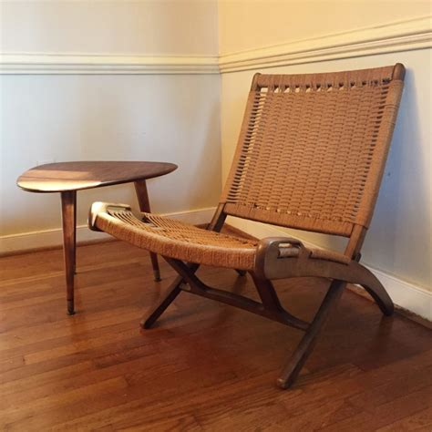 vintage mid century modern folding rope chair   style  hans wegner epoch
