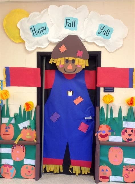 fall classroom decorating ideas preschool door decorations scarecrow for fall