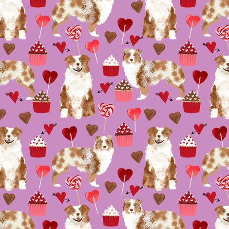 australian shepherd love valentines fabric red merle