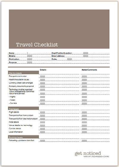 Travel Checklist Template Free Excel Templates Business Travel Planning Checklist Template