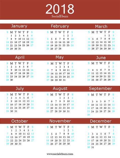 2018 Calendar And Holidays 2018 Calendar With Holidays Free Blank Calendar 2018