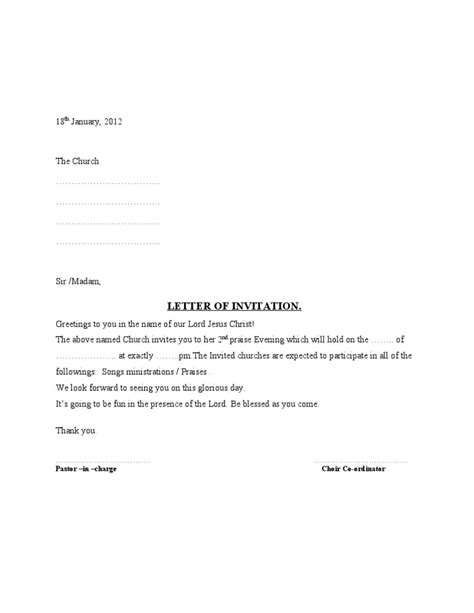 thank you letter to choir choir letter of invitation