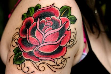 red flower tattoo designs 65 trendy roses shoulder tattoos