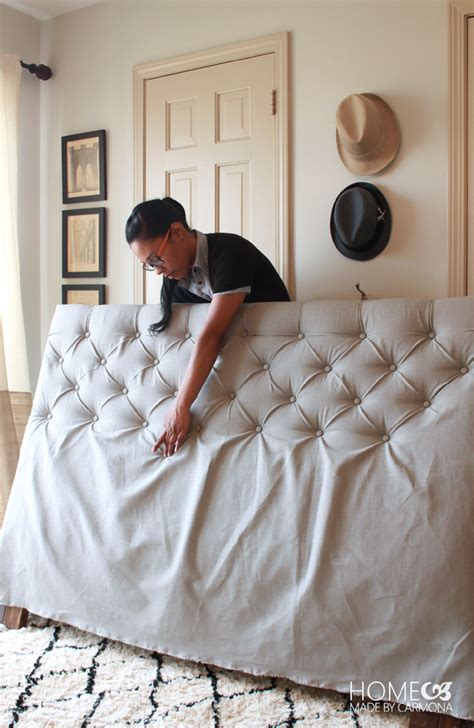 how to diamond tuft a headboard diy diamond tufted headboard tutorial our home sweet home
