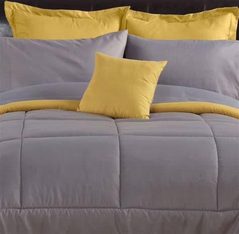 Solid Yellow Comforter by Alcove Solid Color Reversible Comforter Gray