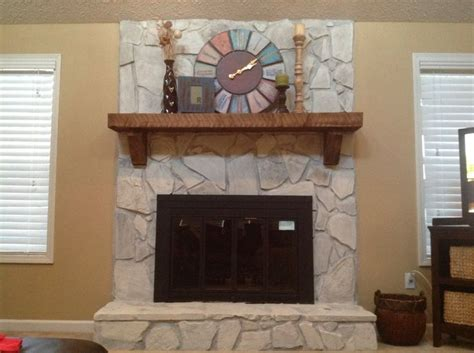 whitewashed stone fireplace mix 12 pint of water based