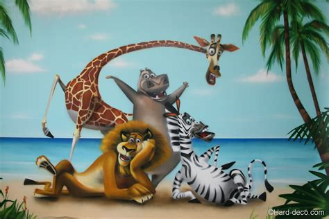 Fresque D 233 Co Sur Le Th 232 Me De Madagascar Et Ses Personnages