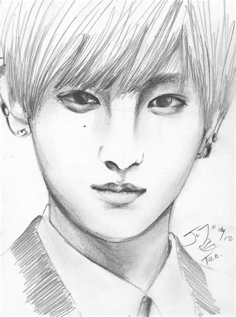 sketch book exo exo m tao pencil sketch by takojojo15 on deviantart