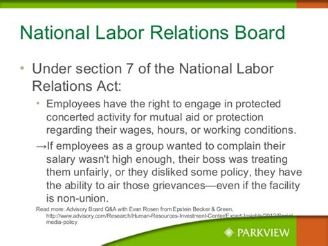 Nlra Section 7 Rights by Social Media Guidelines For Employees