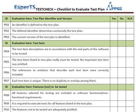 inspection test plan template 25 images of software testing checklist template infovia net