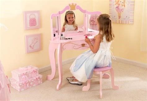 Kidkraft Princess Vanity And Stool Kidkraft 76123 Girls Kids Pink Princess Diva Vanity Table
