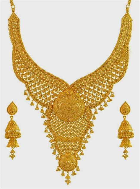 22k gold earrings designs 22k gold hand crafted bridal necklace set with ear rings