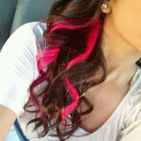 pink streaks in hair colored highlights outfits pinterest