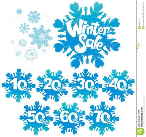 winter sale discount snowflake shapes stock illustration