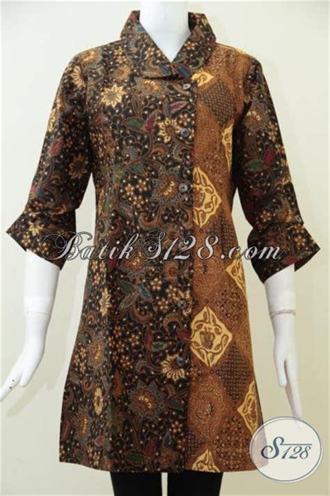 desain baju batik santai dress batikm keren gabungan dua motif dengan desain yang