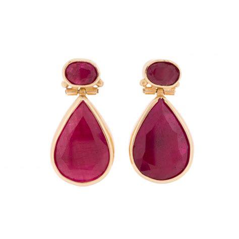 Shaped Drop Earring pear shaped ruby drop earrings from lila s jewels uk