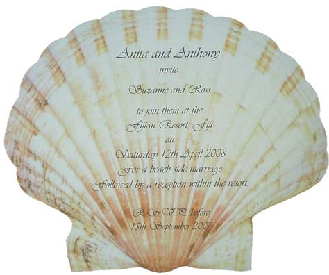 Shell Shaped Card Template by Scallop Shell Die Cut Wedding Invitation Hayfords