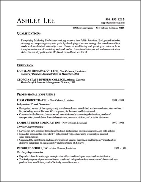 Pr Resume by Relations Resume Exle Sle Relations