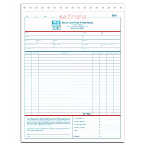 free shop estimate template printable auto repair estimate forms
