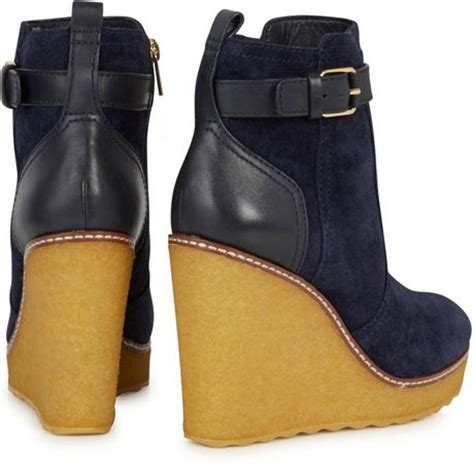burch remy suede wedge ankle boots in blue navy lyst
