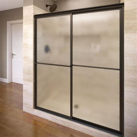 Basco Shower Doors Reviews Shop Basco Deluxe 45 In To 47 In Framed Rubbed Bronze Shower Door At Lowes
