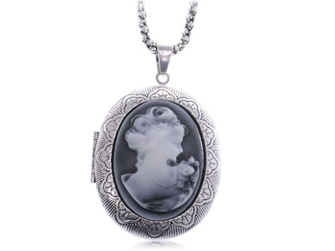 Take Photos With This Vintage Locket by Vintage Inspired Gray Silver Tone Cameo Locket Oval