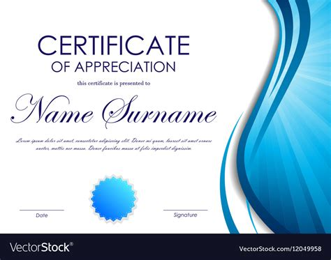 free certificate of appreciation template downloads certificate of appreciation template royalty free vector