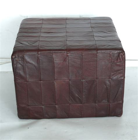 Leather Cube Ottoman De Sede Leather Cube Ottoman At 1stdibs