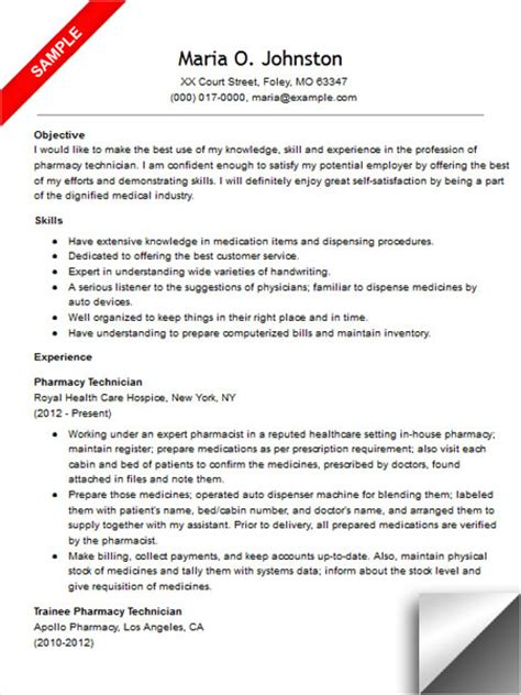 Pharmacy Technician Resume Samples Cover Letters And