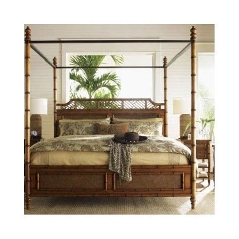 Rattan King Bedroom Set by Four Poster Bed Canopy Coastal Tropical Island Rattan