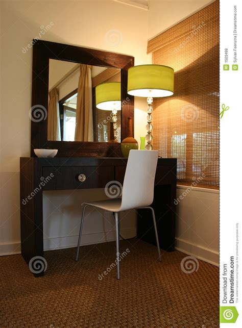 modern african interior bedroom dressing table stock photo