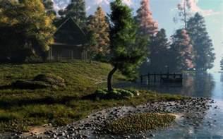cabin at the lake by klontak on deviantart