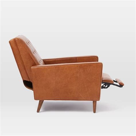 century recliner rhys mid century leather recliner west elm
