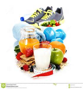 different tools for sport and healthy food stock photo image 41317157
