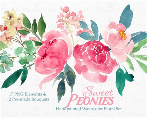 June Wedding Clipart by Digital Clipart Watercolor Flower Clipart Peonies Clip