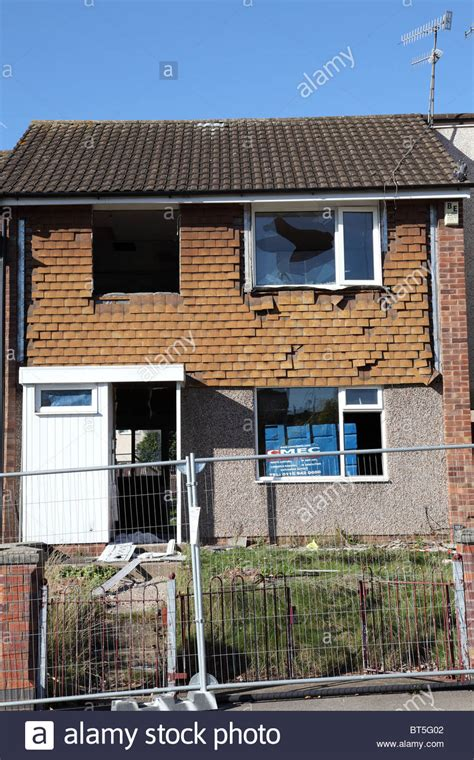 buying a house from the council a council house being demolished in the st ann s area of nottingham stock photo