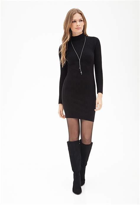 High Neck Ribbed Sweater forever 21 ribbed high neck sweater dress in black lyst
