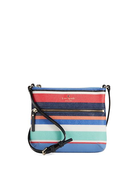 Striped Flap Crossbody Bag lyst kate spade new york tenley striped crossbody bag