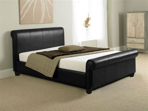 Black Leather Sleigh Bed Black Faux Leather Sleigh Bed Frame Bed Frames Ideas