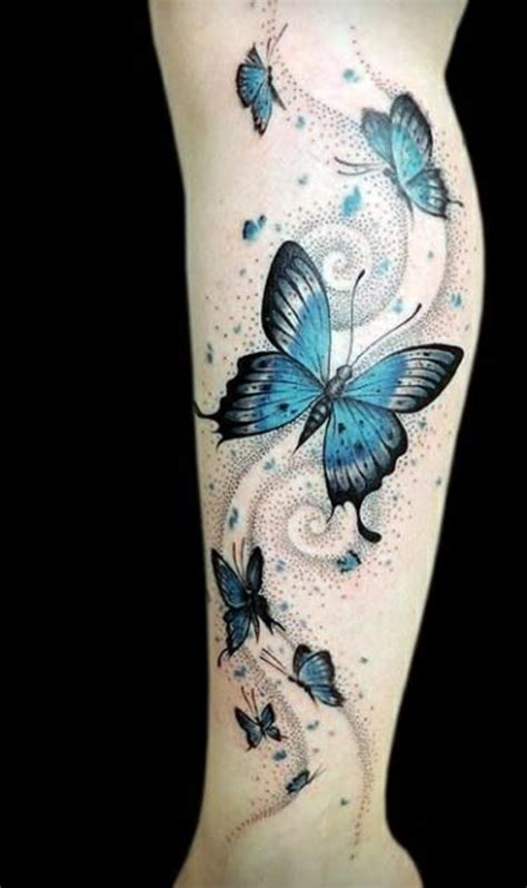 collection of 25 colorful butterfly tattoo on leg