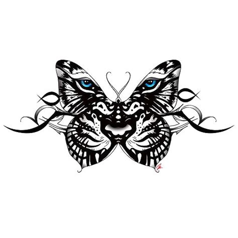 tiger face butterfly tattoo design