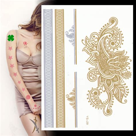 temporary tattoo paper national bookstore tatouage temporary women metallic tattos golden flash