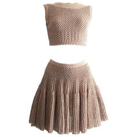 knitted crop top and skirt alaia metallic lurex knit crop top and skater skirt