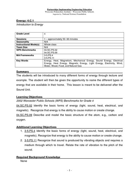 Energy And Worksheet Answers by 17 Best Images Of Types Of Energy Worksheet Different