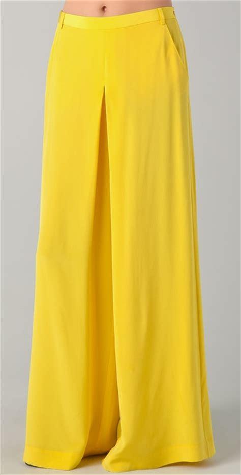 19213 Yellow Wide Leg Trousers tibi wide leg in yellow lyst
