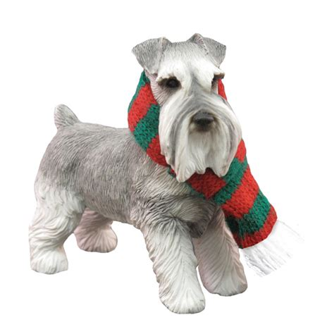 schnauzer standing christmas ornament gray baxterboo