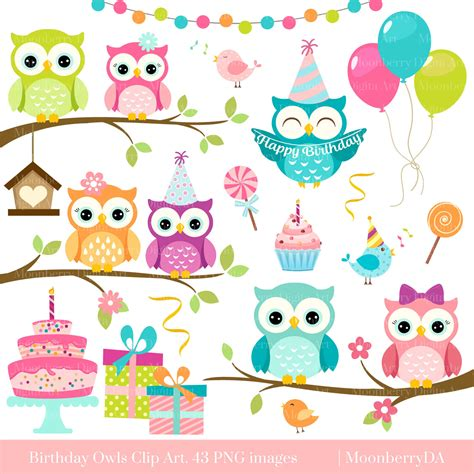 clipart compleanno owls clipart birthday owls clip digital owls