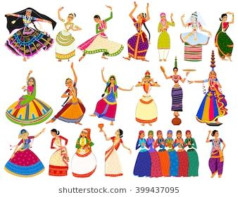 indian folk dance images, stock photos & vectors