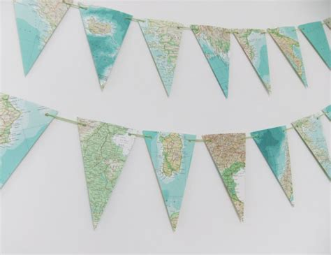 map of garland garland of map bunting upcycled garland made from a vintage